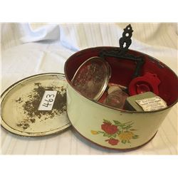 463-VINTAGE METAL CAKE COVER WITH MISC ITEMS