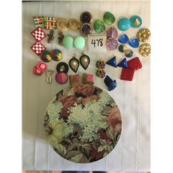 478-VINTAGE 80'S COLORFUL EARRINGS LOT OVERSIZED CLIP AND STUD