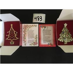 483-AVON COLLECTIONS CHRISTMAS TREE PINS 2005/2008 IN ORIGINAL PACKAGING MINT