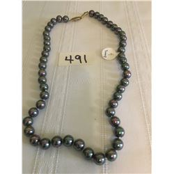 """491-FIFTH AVENUE COLLECTION 18"""" BLACK PEARL NECKLACE"""