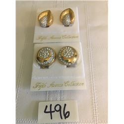 496-FIFTH AVENUE COLLECTION SET OF 2 GENUINE AUSTRALIAN CRYSTAL CLIP EARRINGS