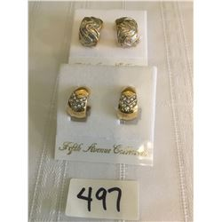 497-FIFTH AVENUE COLLECTION SET OF 2 GENUINE AUSTRALIAN CRYSTAL CLIP EARRINGS