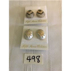 498-FIFTH AVENUE COLLECTION SET OF 2 GENUINE AUSTRALIAN CRYSTAL CLIP EARRINGS