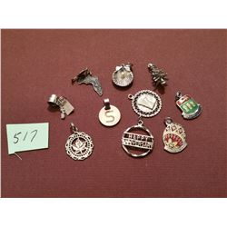 10 sterling silver charms