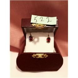 Garnet and sterling screw back earrings