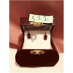Garnet and sterling screw back earrings