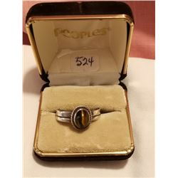 Sterling silver ring with Tiger eye, size 9
