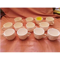 Lot of 12 shell pink cups, Feather Pattern, Jeanette Glass