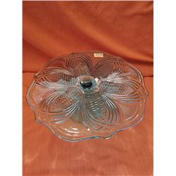 Blue Cake stand with pinecone pattern