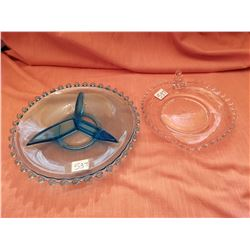 Blue Candlewick and clear Hughes Cornflower servers