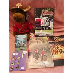 Lot RCMP Quarterlies/Lapel pins/tie bar/ stuffed moose
