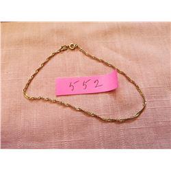 10 kt Gold ankle bracelet, 9 inches