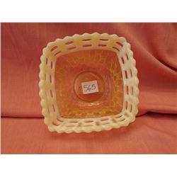 Yellow Fenton dish, Basketweave pattern
