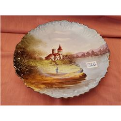 Scenic Limoges plate, France, circa 1900
