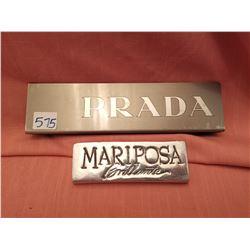 Product markers, PRADA and Mariposa