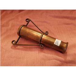 Trench Art brass shell handled vase