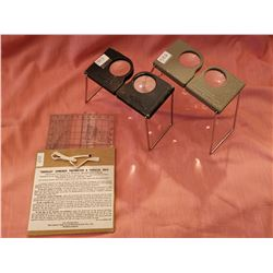 Aerial magnifiers, USA Army and Protractor