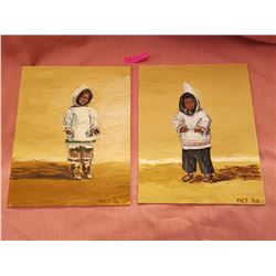 Paintings of Inuit boy and girl from Fort Smith NWT, 1960