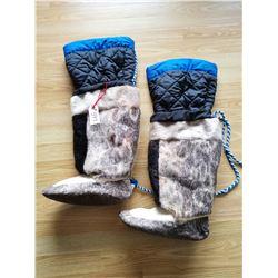 "Inuit boots, handmade, 12'' heel to toe, 16"" high, lined"