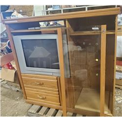 Large TV cabinet/entertainment stand with 27 inch JVC TV & remote