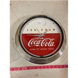CHROME COCA-COLA DINNER CLOCK BATTERY OPERATED