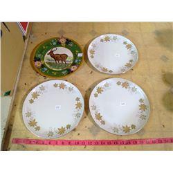 "WEDGE WOOD ""DEER PLATE "" WITH THREE MAPLE LEAF PATTERN DINNER PLATES"