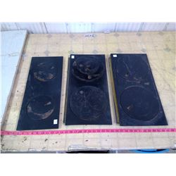 SET OF THREE CAST IRON PLATES FOR WOOD FULED COOK STOVE