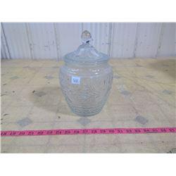 SANDWICH CLEAR DEPRESSION GLASS COOKIE JAR