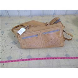 HAND TOOLED LEATHER DUFFLE BAG