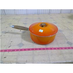 ORANGE CAST IRON SAUCE PAN MADE IN FRANCE