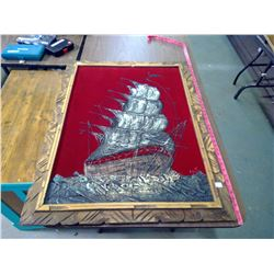 "LARGE VELVET PAINTING ""SAILING SHIP"" 29.5 X 39.5"""