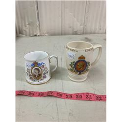 2 CORONATION MUGS (KING EDWARD VIII 1937 + QUEEN ELIZABETH II 1953)
