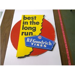 "B.F. GOODRICH CARDBOARD SIGN ""BEST IN THE LONG RUN"" NOS"