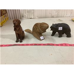 ANIAMAL FIGURINES DOG, BEAR, AND BEAVER SOME CARVED