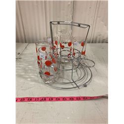 SET OF 5 RETRO 1950'S POKKA DOT DRINK GLASSES WITH HOLDER