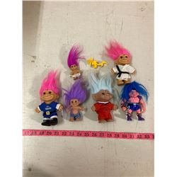 LOT OF 6 VINTAGE TROLLS