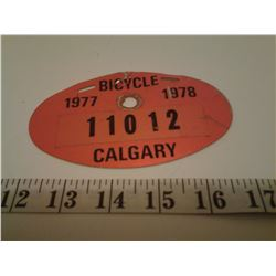 Bicycle license Calgary 1977-1978