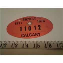 Bicycle license Calgary 1977-1978