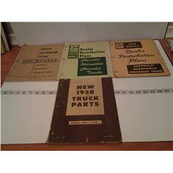 3 GM books 1958, 59, 60 & truck parts 1958
