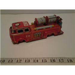 Rare 1950's vintage Japan tin litho friction motor fire truck