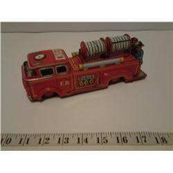 Rare 1950's vintage Japan tin litho friction motor fire truck