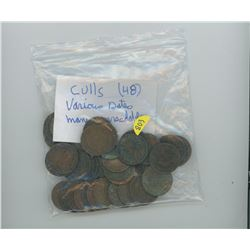 48-CULL LARGE CENTS CANADIAN VARIOUS DATES MANY UNREADABLE