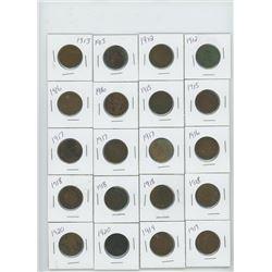 20-CANADIAN LARGE CENT 1912X2,1913X2,1915X2, 1916X3, 1917X2,, 1918X4,1919X2,1920X2
