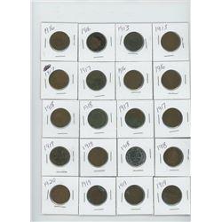 20-CANADIAN LARGE CENT 1913X2, 1916X4, 1917X4, 1918X4, 1918X4,1919X5,1920X1