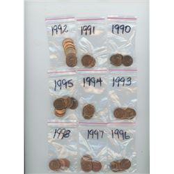 112 CANADIAN SMALL CENT 1990-2012 AT LEAST 5 OF EACH