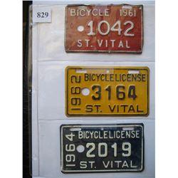 ST. VITAL - MANITOBA - BICYCLE LICENSE'S  1961 & 1962 & 1964