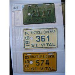 ST. VITAL - MANITOBA - BICYCLE LICENSE'S  1965 & 1967 & 1968