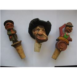 LOT of 3 DECORATIVE WINE STOPPERS - Two Vintage Wooden Figures with moveable parts