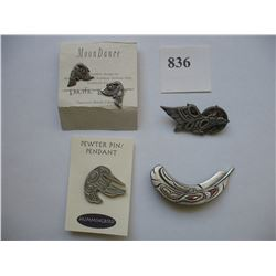 NATIVE MADE PEWTER PIN / PENDANT -  BROOCHES and EAR RINGS - 4 Pieces