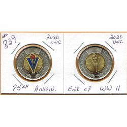 2020 75th ANNIVERSARY - END OF WW II - $2.00 COINS - Coloured & Non Coloured